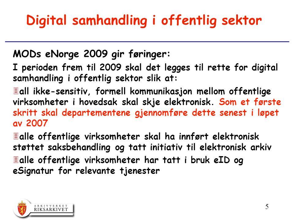 5 Digital samhandling i offentlig sektor MODs eNorge 2009 gir føringer: I perioden frem til 2009 skal det legges til rette for digital samhandling i offentlig sektor slik at: 3all ikke-sensitiv, formell kommunikasjon mellom offentlige virksomheter i hovedsak skal skje elektronisk.