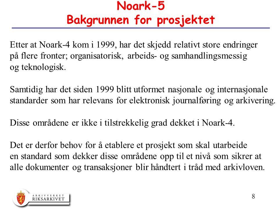 8 Noark-5 Bakgrunnen for prosjektet Etter at Noark-4 kom i 1999, har det skjedd relativt store endringer på flere fronter; organisatorisk, arbeids- og samhandlingsmessig og teknologisk.