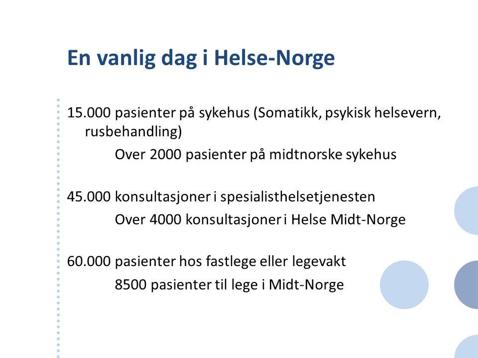 En vanlig dag i Helse-Norge 15.000 pasienter på sykehus (Somatikk, psykisk helsevern, rusbehandling) Over 2000 pasienter på midtnorske sykehus 45.000