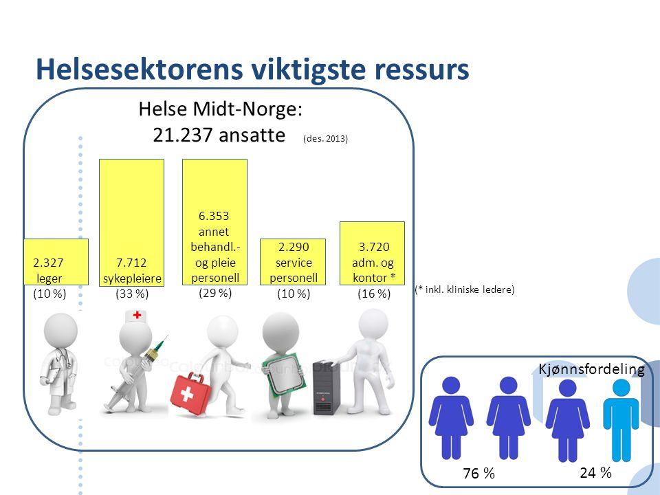 Helsesektorens viktigste ressurs Helse Midt-Norge: 21.237 ansatte (des. 2013) 2.327 leger (10 %) 7.712 sykepleiere (33 %) 6.353 annet behandl.- og ple