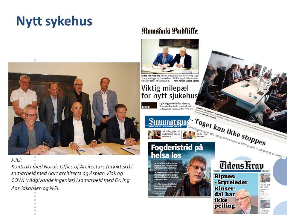 Nytt sykehus JULI: Kontrakt med Nordic Office of Arcitecture (arkiktekt) i samarbeid med Aart architects og Asplan Viak og COWI (rådgivande ingeniør)