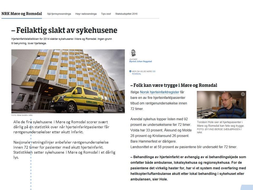 Alle de fire sykehusene i Møre og Romsdal scorer svært dårlig på en statistikk over når hjerteinfarktpasienter får røntgenundersøkelser etter akutt in