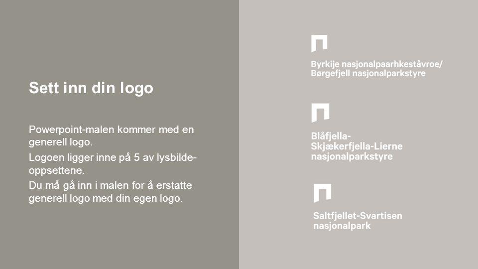 Sett inn din logo Powerpoint-malen kommer med en generell logo.