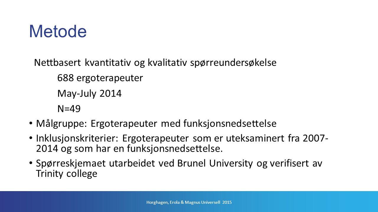 Metode Horghagen, Erola & Magnus Universell 2015 Nettbasert kvantitativ og kvalitativ spørreundersøkelse 688 ergoterapeuter May-July 2014 N=49 Målgrup