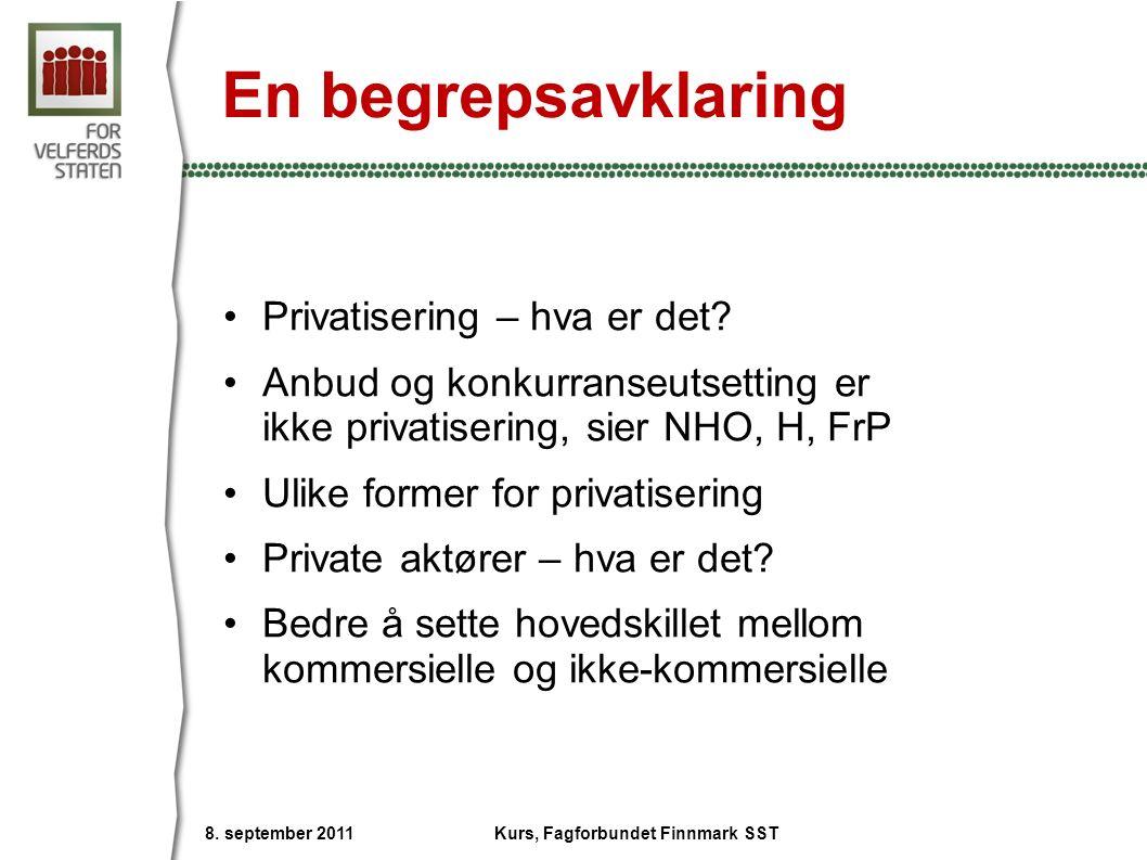 En begrepsavklaring Privatisering – hva er det? Anbud og konkurranseutsetting er ikke privatisering, sier NHO, H, FrP Ulike former for privatisering P