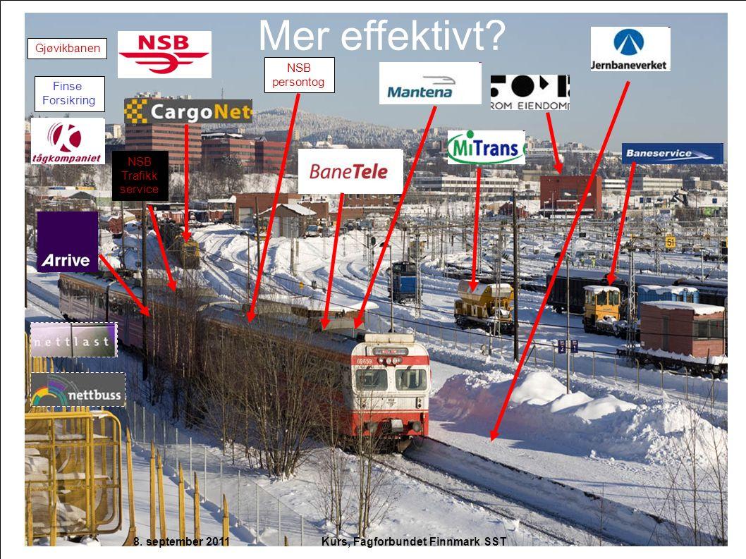 Mer effektivt? NSB Trafikk service Gjøvikbanen Finse Forsikring NSB persontog 8. september 2011 Kurs, Fagforbundet Finnmark SST