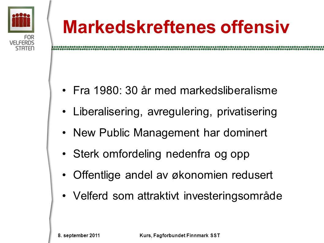 Markedskreftenes offensiv Fra 1980: 30 år med markedsliberalisme Liberalisering, avregulering, privatisering New Public Management har dominert Sterk