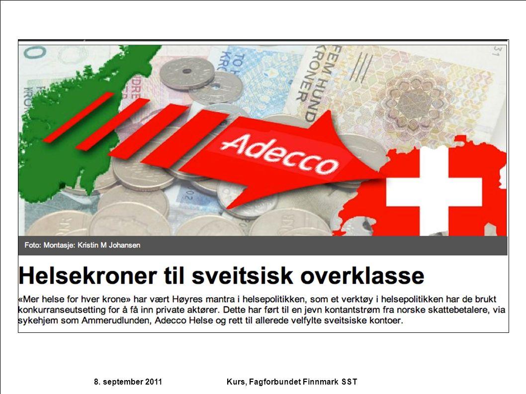 8. september 2011 Kurs, Fagforbundet Finnmark SST
