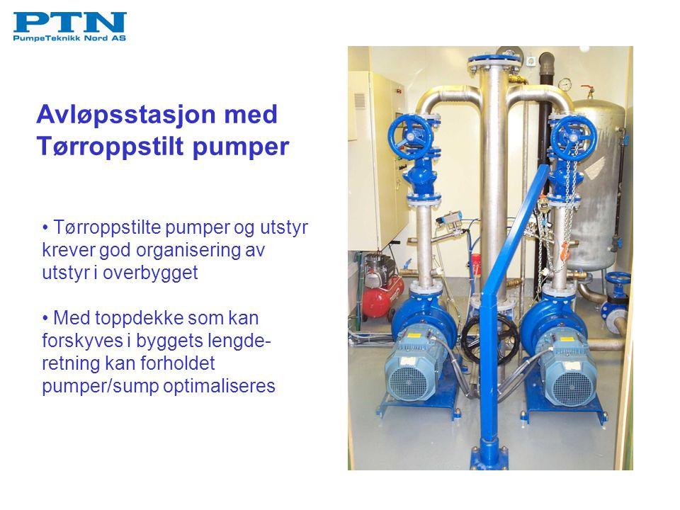 Avløpsstasjon med Tørroppstilt pumper Tørroppstilte pumper og utstyr krever god organisering av utstyr i overbygget Med toppdekke som kan forskyves i byggets lengde- retning kan forholdet pumper/sump optimaliseres