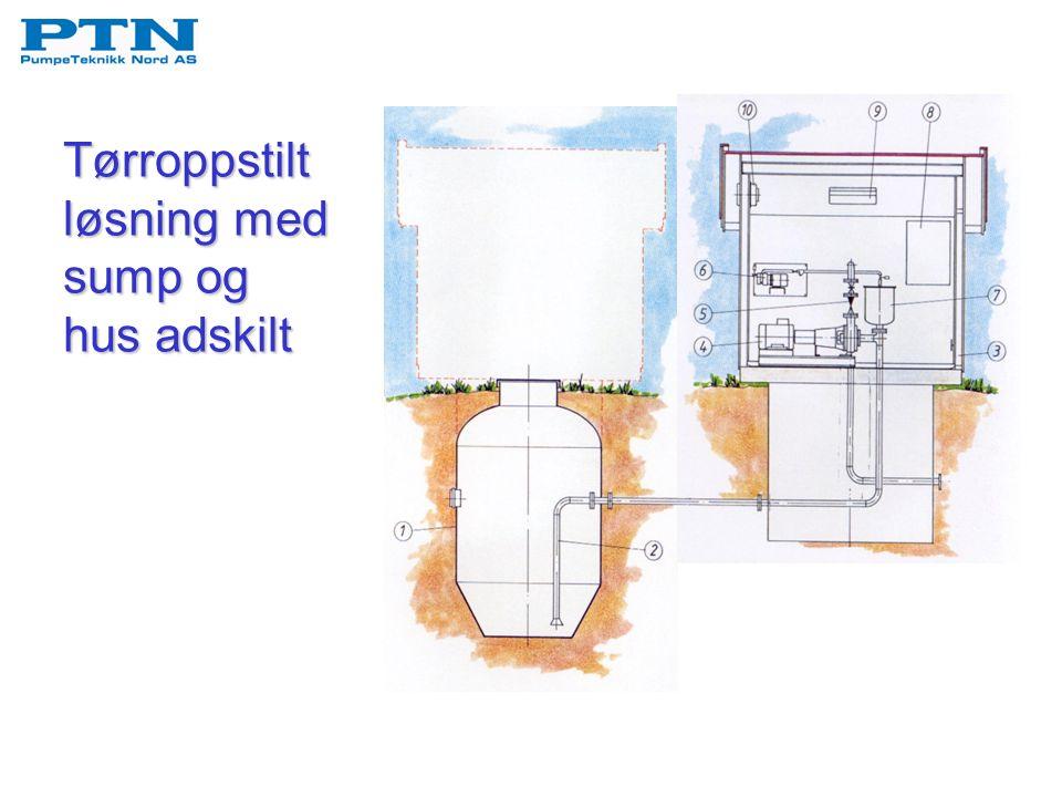 Tørroppstilt løsning med sump og hus adskilt