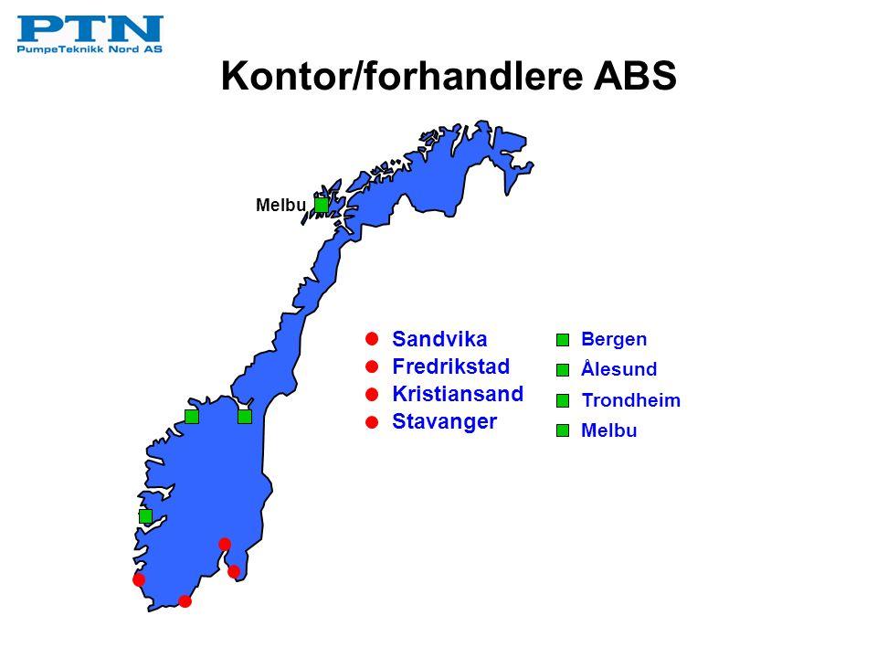 Kontor/forhandlere ABS Sandvika Fredrikstad Kristiansand Stavanger Bergen Ålesund Trondheim Melbu