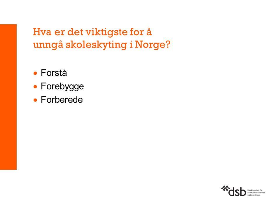 Hva er det viktigste for å unngå skoleskyting i Norge  Forstå  Forebygge  Forberede