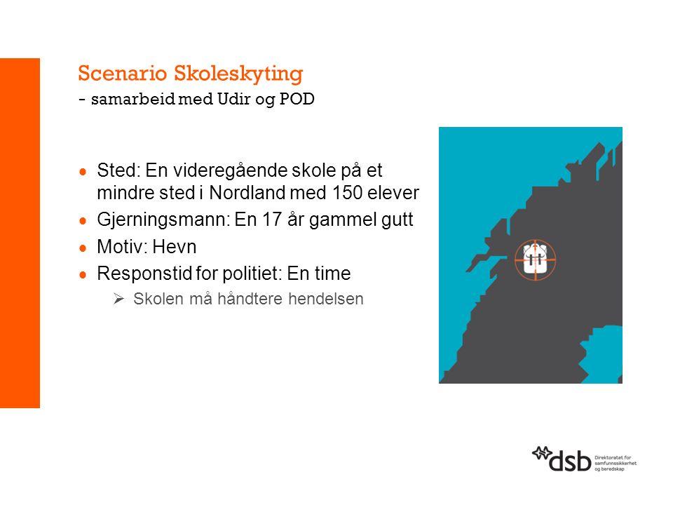Scenario Skoleskyting - samarbeid med Udir og POD  Sted: En videregående skole på et mindre sted i Nordland med 150 elever  Gjerningsmann: En 17 år gammel gutt  Motiv: Hevn  Responstid for politiet: En time  Skolen må håndtere hendelsen