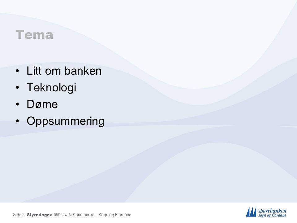 Side 2 Styredagen 050224 © Sparebanken Sogn og Fjordane Tema Litt om banken Teknologi Døme Oppsummering