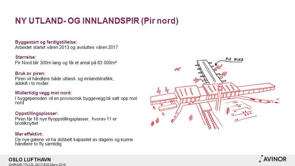 OSLO LUFTHAVN GMRGR-T2U-ZL-0017-E20 Mars 2016 NY UTLAND- OG INNLANDSPIR (Pir nord) Byggestart og ferdigstillelse: Arbeidet startet våren 2013 og avsluttes våren 2017 Størrelse: Pir Nord blir 300m lang og får et areal på 63 000m² Bruk av piren: Piren vil håndtere både utland- og innlandstrafikk, adskilt i to nivåer.