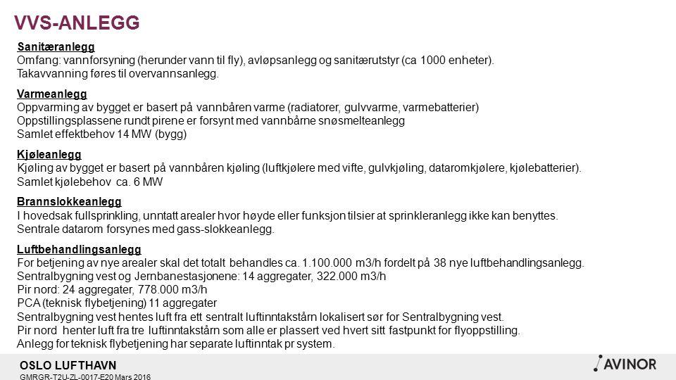 OSLO LUFTHAVN GMRGR-T2U-ZL-0017-E20 Mars 2016 VVS-ANLEGG Sanitæranlegg Omfang: vannforsyning (herunder vann til fly), avløpsanlegg og sanitærutstyr (ca 1000 enheter).