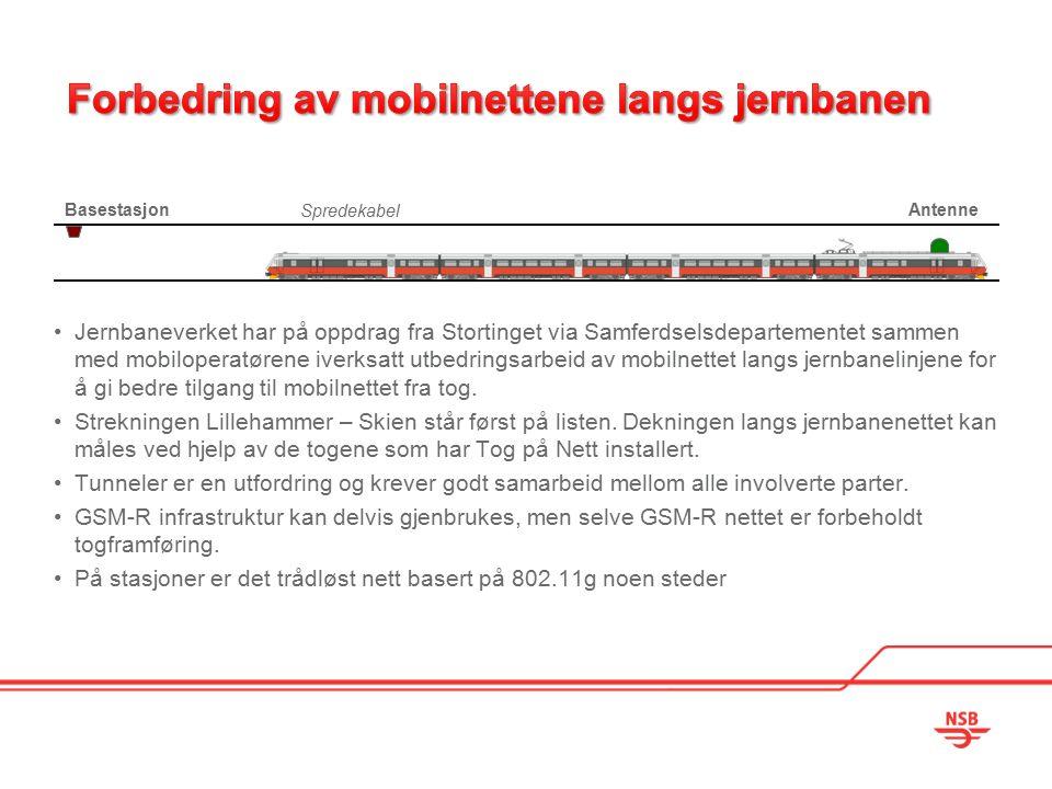 Jernbaneverket har på oppdrag fra Stortinget via Samferdselsdepartementet sammen med mobiloperatørene iverksatt utbedringsarbeid av mobilnettet langs jernbanelinjene for å gi bedre tilgang til mobilnettet fra tog.