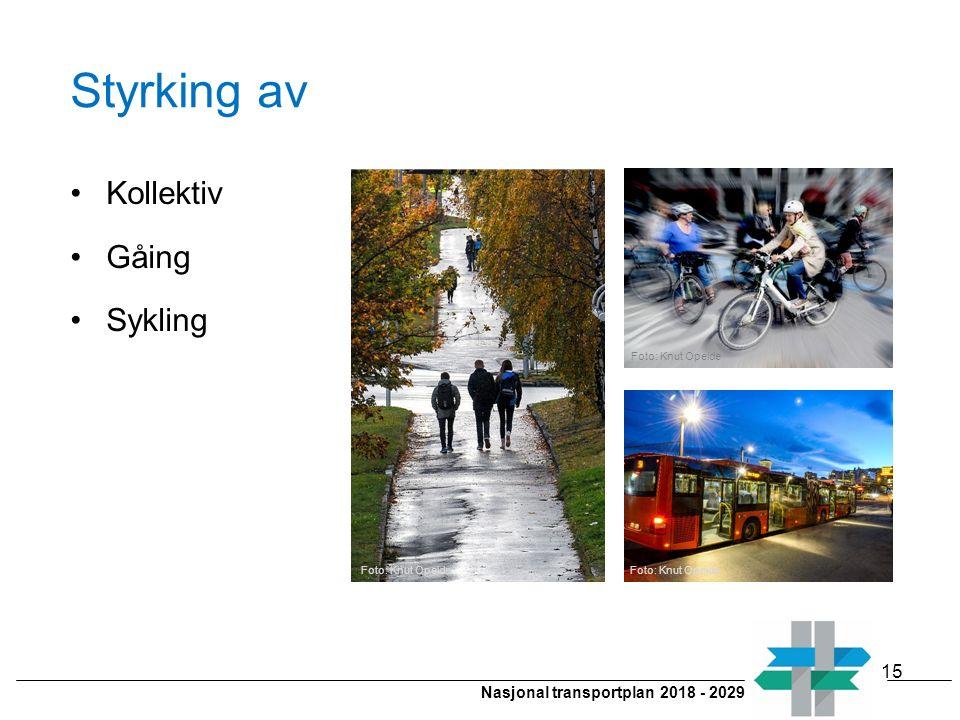Nasjonal transportplan 2018 - 2029 Styrking av Kollektiv Gåing Sykling 15 Foto: Knut Opeide