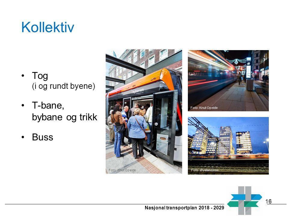 Nasjonal transportplan 2018 - 2029 Kollektiv Tog (i og rundt byene) T-bane, bybane og trikk Buss 16 Foto: Knut Opeide Foto: Øysten Grue