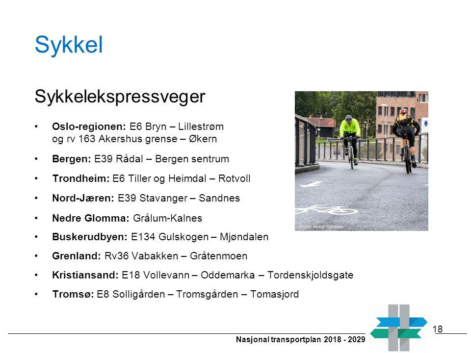 Nasjonal transportplan 2018 - 2029 Sykkel Sykkelekspressveger Oslo-regionen: E6 Bryn – Lillestrøm og rv 163 Akershus grense – Økern Bergen: E39 Rådal