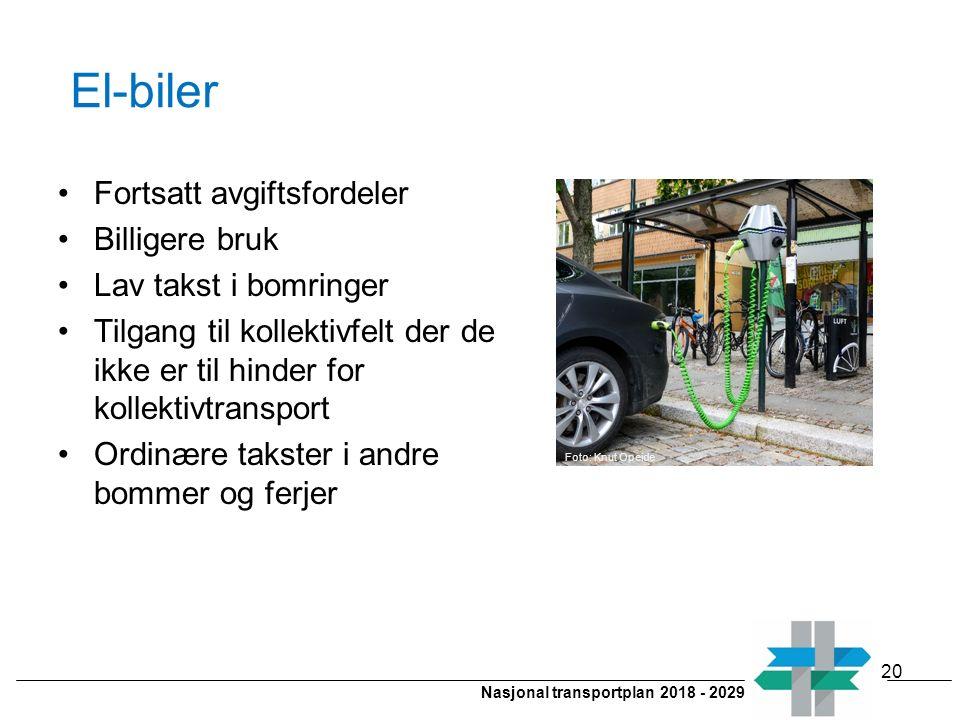 Nasjonal transportplan 2018 - 2029 El-biler Fortsatt avgiftsfordeler Billigere bruk Lav takst i bomringer Tilgang til kollektivfelt der de ikke er til