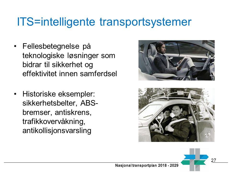 Nasjonal transportplan 2018 - 2029 ITS=intelligente transportsystemer Fellesbetegnelse på teknologiske løsninger som bidrar til sikkerhet og effektivi