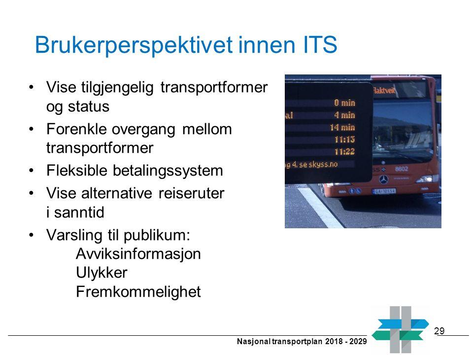 Nasjonal transportplan 2018 - 2029 Brukerperspektivet innen ITS Vise tilgjengelig transportformer og status Forenkle overgang mellom transportformer F