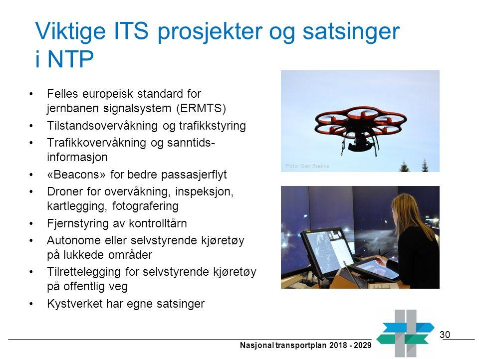 Nasjonal transportplan 2018 - 2029 Viktige ITS prosjekter og satsinger i NTP Felles europeisk standard for jernbanen signalsystem (ERMTS) Tilstandsove