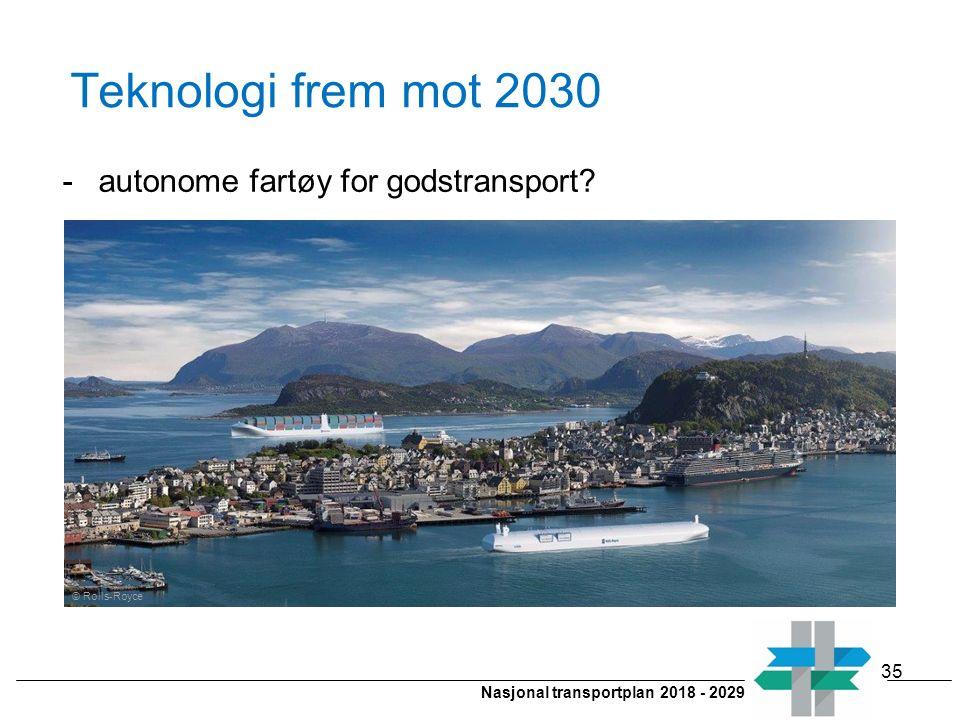 Nasjonal transportplan 2018 - 2029 Teknologi frem mot 2030 -autonome fartøy for godstransport? © Rolls-Royce 35