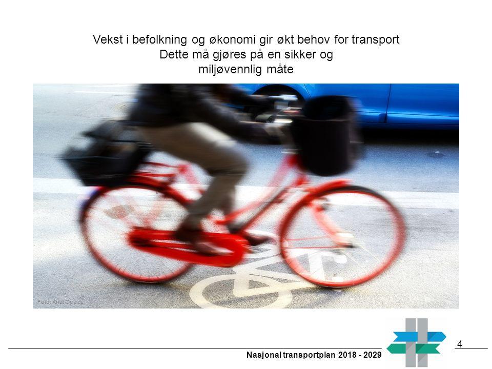 Nasjonal transportplan 2018 - 2029 4 Vekst i befolkning og økonomi gir økt behov for transport Dette må gjøres på en sikker og miljøvennlig måte Foto: