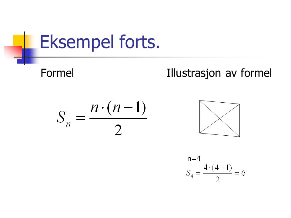 Multiplikasjon 2 * 37 = 30 + 30 + 7 + 7 = 60 + 14 =74 (Gjentatt addisjon) 2 * 37 = 2 * 30 + 2* 7 = 60 + 14 = 74 (Distributive lov) 6 * 295 = 6*300 – 6*5 = 1800 – 30 = 1770 (Multiplisere med enklere tall og addere / subtrahere avviket) 4 * 350 = 2 * 2 * 350 = 2 * 700 = 1400 5 * 624 = 5 * 2 * 312 = 10*312=3120 (Tillempe assosiative lov eller halvere – doble, doble – halvere)