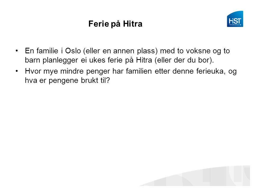 Ferie på Hitra En familie i Oslo (eller en annen plass) med to voksne og to barn planlegger ei ukes ferie på Hitra (eller der du bor).