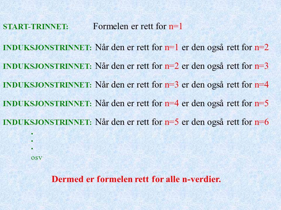 START-TRINNET: Formelen er rett for n=1 INDUKSJONSTRINNET: Når den er rett for n=1 er den også rett for n=2 INDUKSJONSTRINNET: Når den er rett for n=2 er den også rett for n=3 INDUKSJONSTRINNET: Når den er rett for n=3 er den også rett for n=4 INDUKSJONSTRINNET: Når den er rett for n=4 er den også rett for n=5 INDUKSJONSTRINNET: Når den er rett for n=5 er den også rett for n=6 osv Dermed er formelen rett for alle n-verdier.