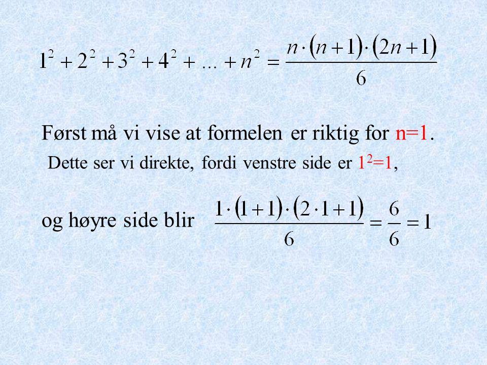 Først må vi vise at formelen er riktig for n=1. Dette ser vi direkte, fordi venstre side er 1 2 =1, og høyre side blir