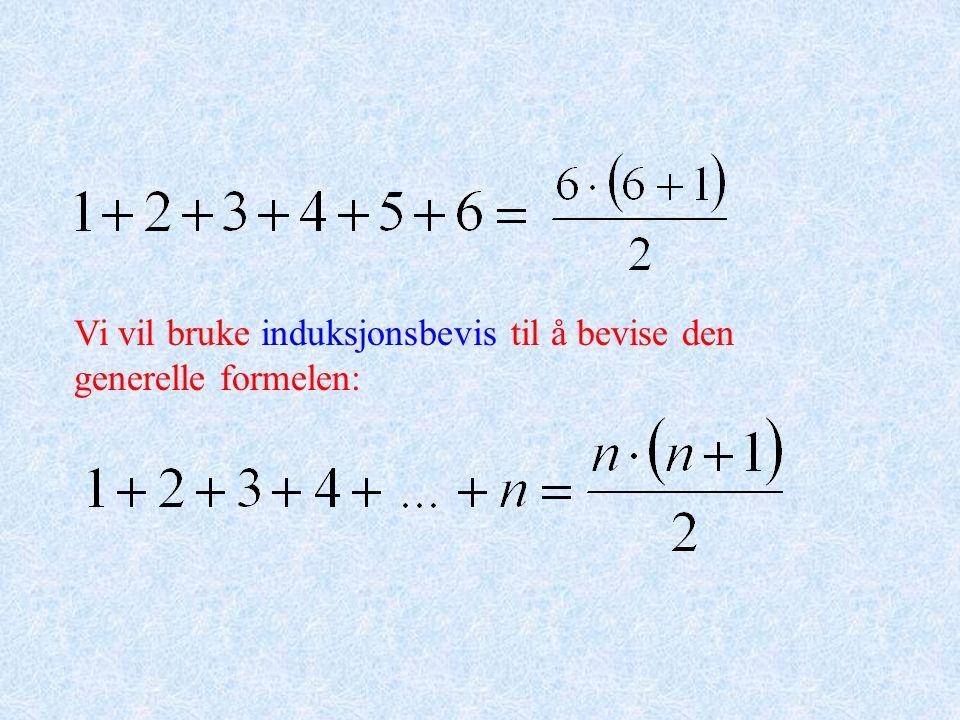Vi vil bruke induksjonsbevis til å bevise den generelle formelen: