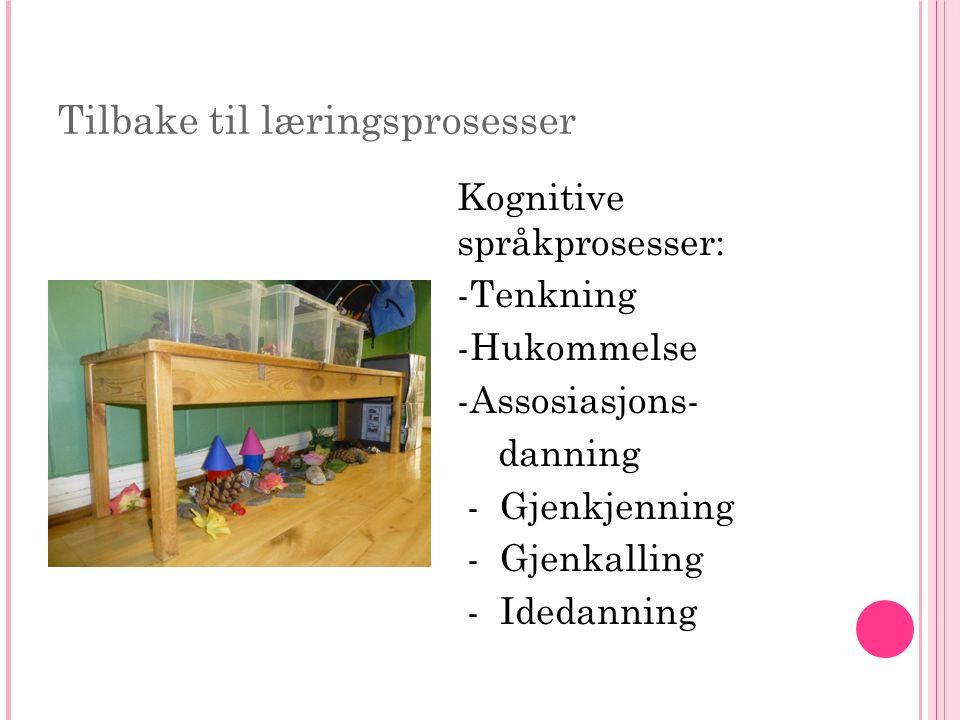 Tilbake til læringsprosesser Kognitive språkprosesser: -Tenkning -Hukommelse -Assosiasjons- danning - Gjenkjenning - Gjenkalling - Idedanning