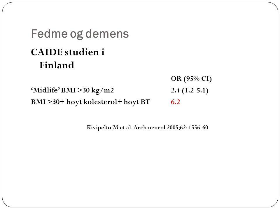 Fedme og demens CAIDE studien i Finland OR (95% CI) 'Midlife' BMI >30 kg/m22.4 (1.2-5.1) BMI >30+ høyt kolesterol+ høyt BT6.2 Kivipelto M et al.