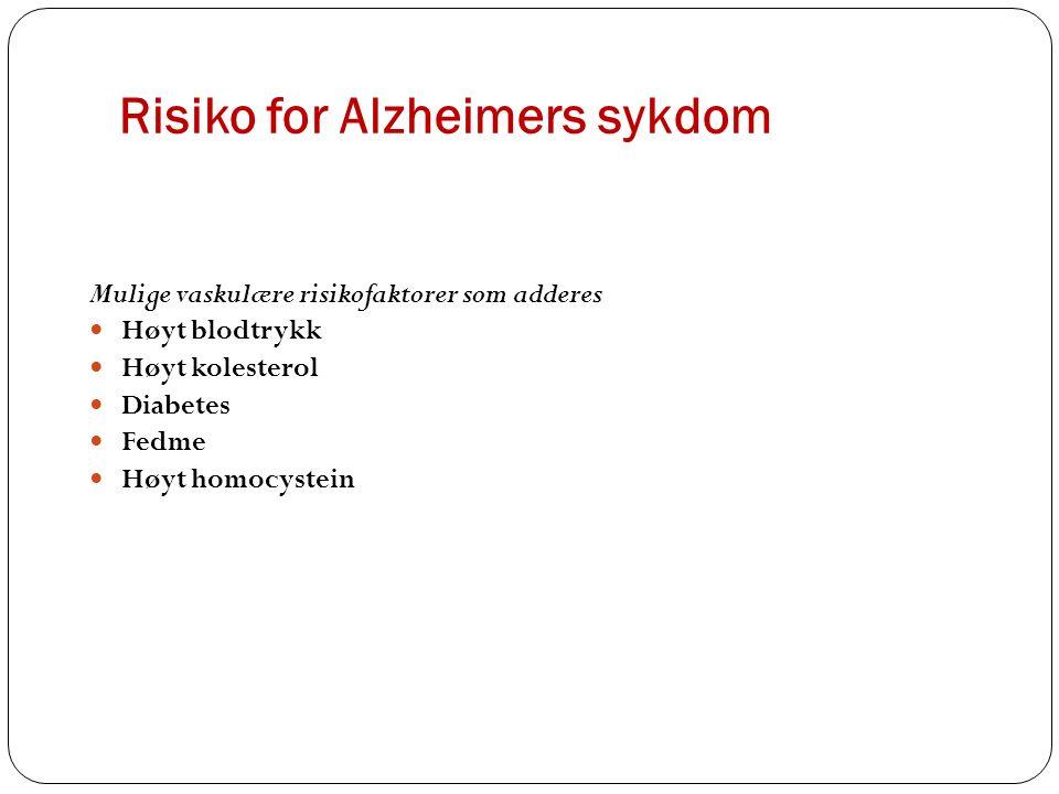 Risiko for Alzheimers sykdom Mulige vaskulære risikofaktorer som adderes Høyt blodtrykk Høyt kolesterol Diabetes Fedme Høyt homocystein