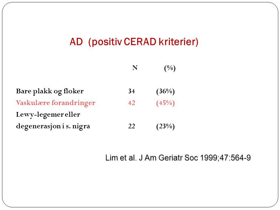 AD (positiv CERAD kriterier) N (%) Bare plakk og floker34(36%) Vaskulære forandringer42(45%) Lewy-legemer eller degenerasjon i s.