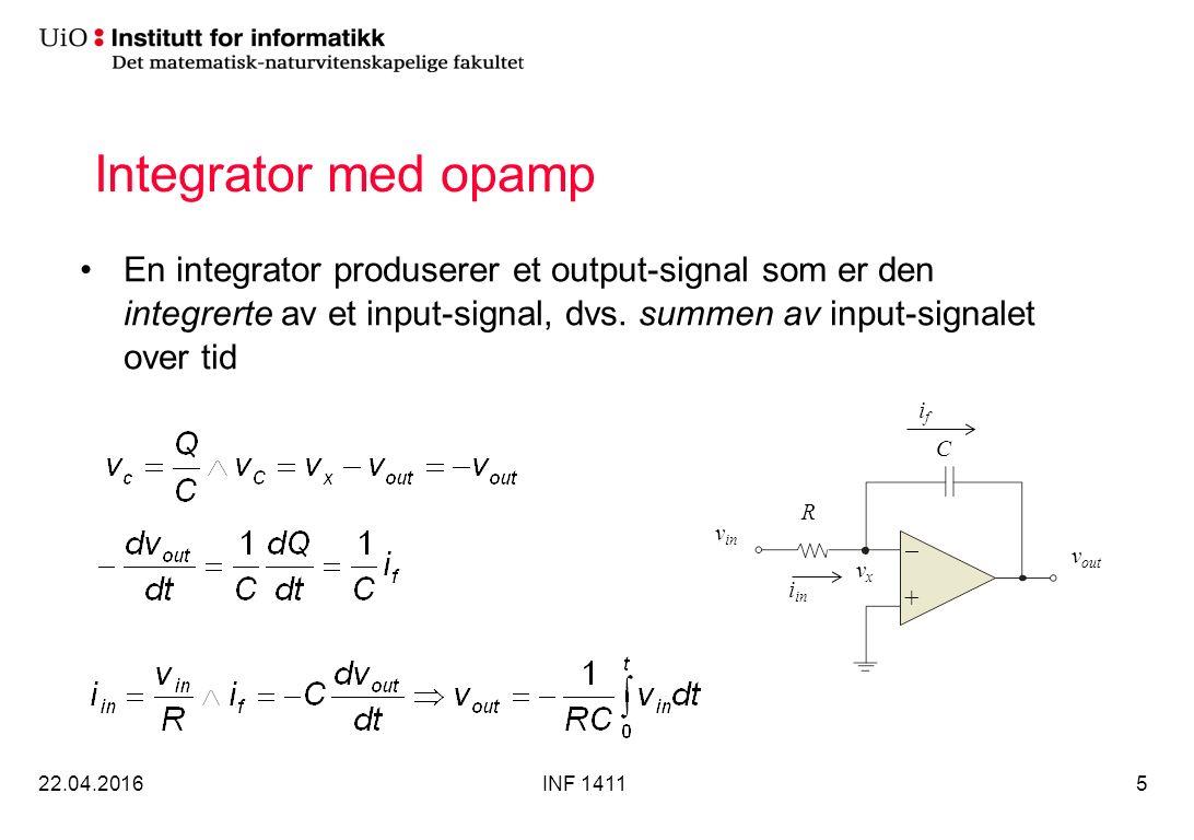 Integrator med opamp (forts) Siden integratoren er en inverterende forsterker vil output være negativ (forutsatt positiv og negativ forsyningspenning) Hvis input er en firkantbølge sentrert rundt 0v vil output være en negativ trekantbølge (forutsatt at man ikke går i metning) 22.04.2016INF 14116 R C v in v out +  vxvx i in ifif V in V out 0 V