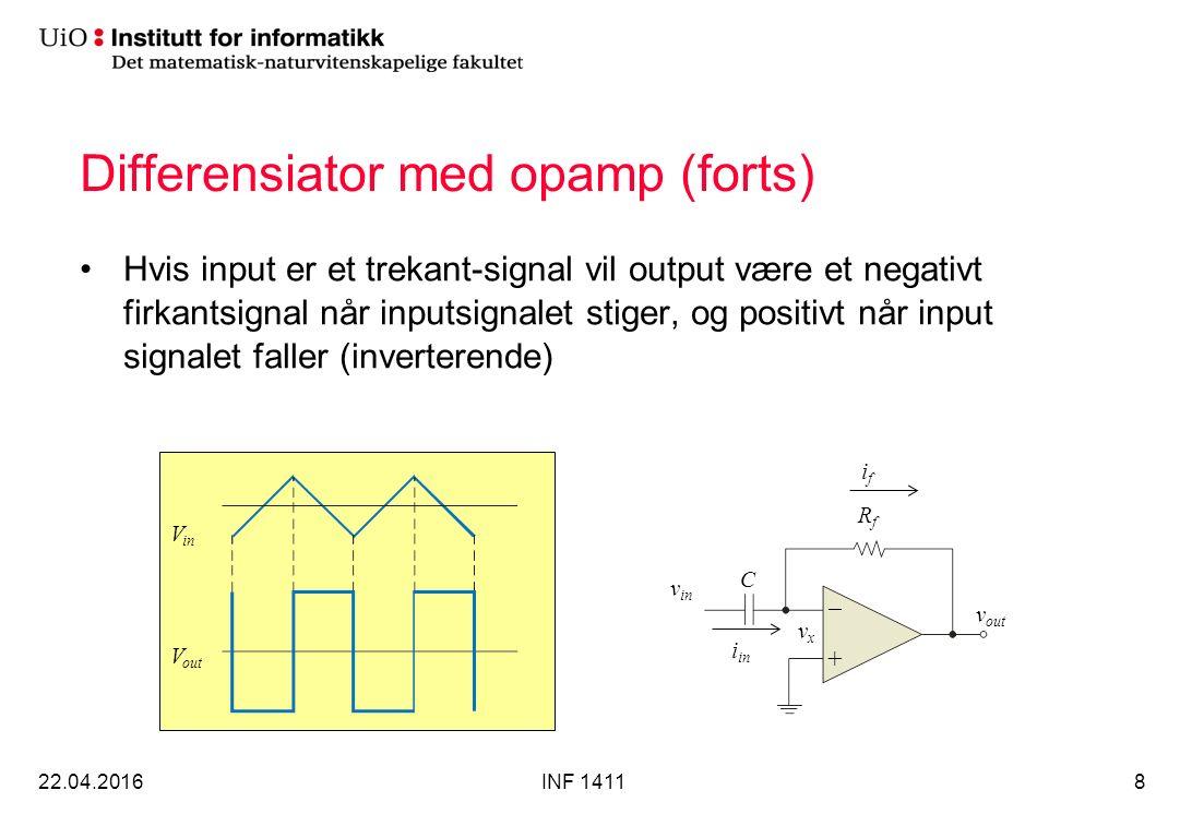 Differensiator med opamp (forts) Hvis input er et trekant-signal vil output være et negativt firkantsignal når inputsignalet stiger, og positivt når input signalet faller (inverterende) 22.04.2016INF 14118 +  RfRf C v in v out vxvx i in ifif V in V out