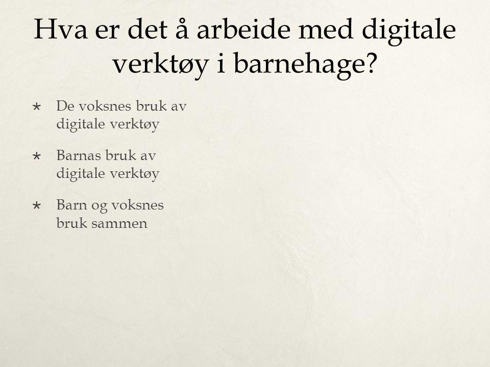 Hva er det å arbeide med digitale verktøy i barnehage?  De voksnes bruk av digitale verktøy  Barnas bruk av digitale verktøy  Barn og voksnes bruk
