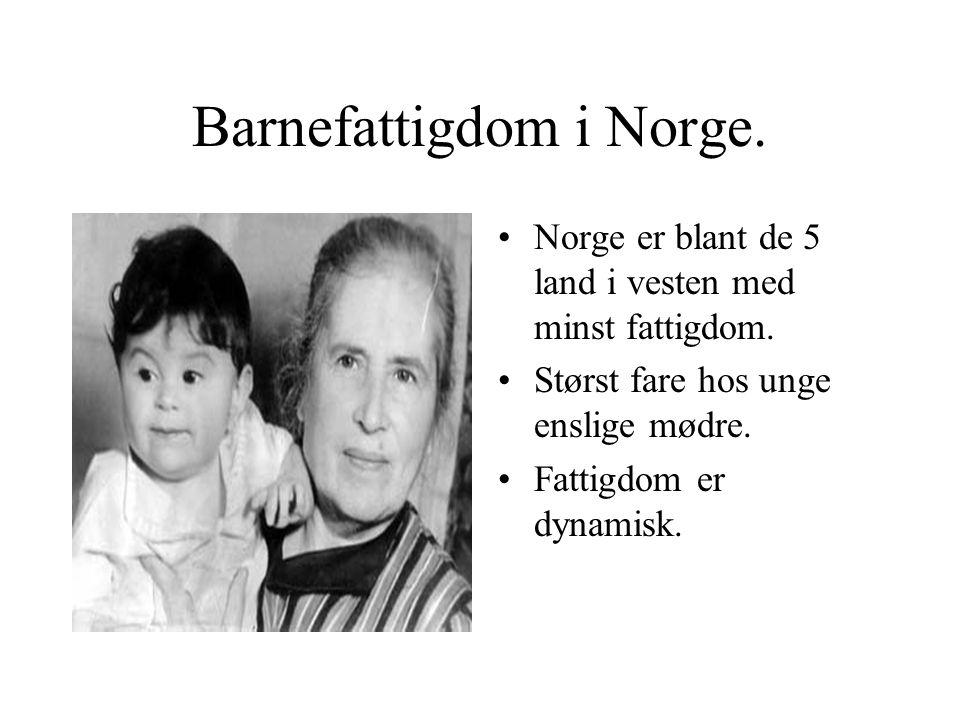 Barnefattigdom i Norge. Norge er blant de 5 land i vesten med minst fattigdom. Størst fare hos unge enslige mødre. Fattigdom er dynamisk.