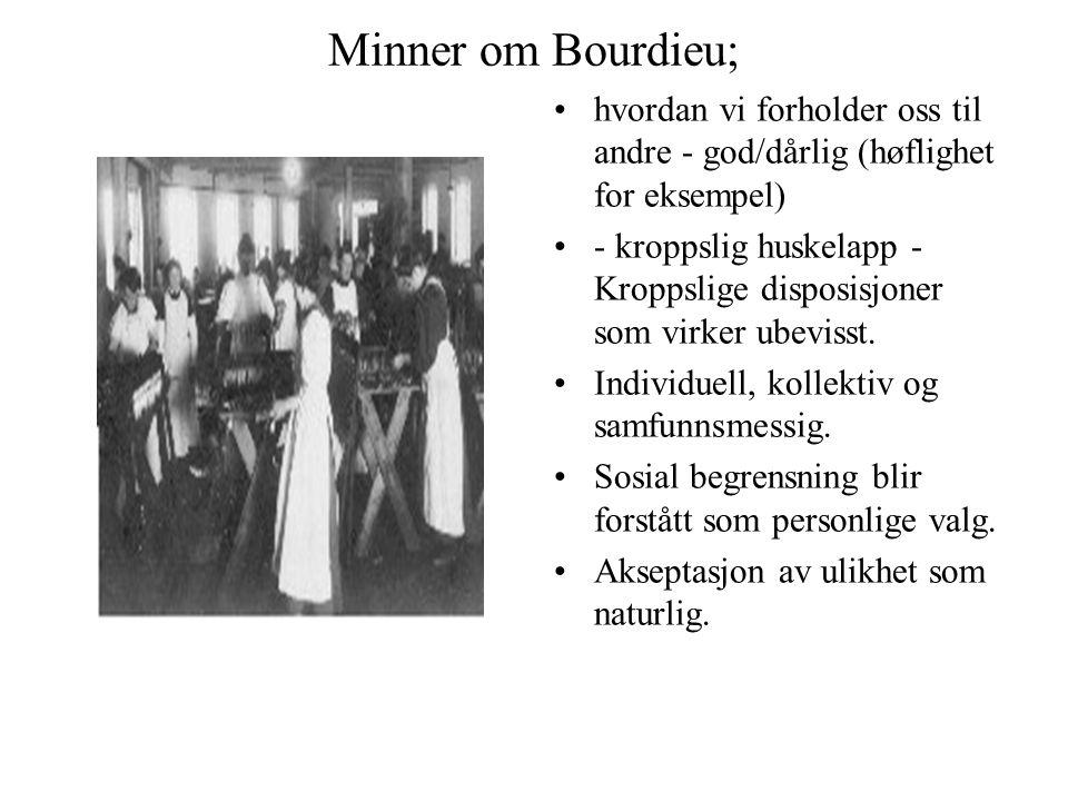 Minner om Bourdieu; hvordan vi forholder oss til andre - god/dårlig (høflighet for eksempel) - kroppslig huskelapp - Kroppslige disposisjoner som virk