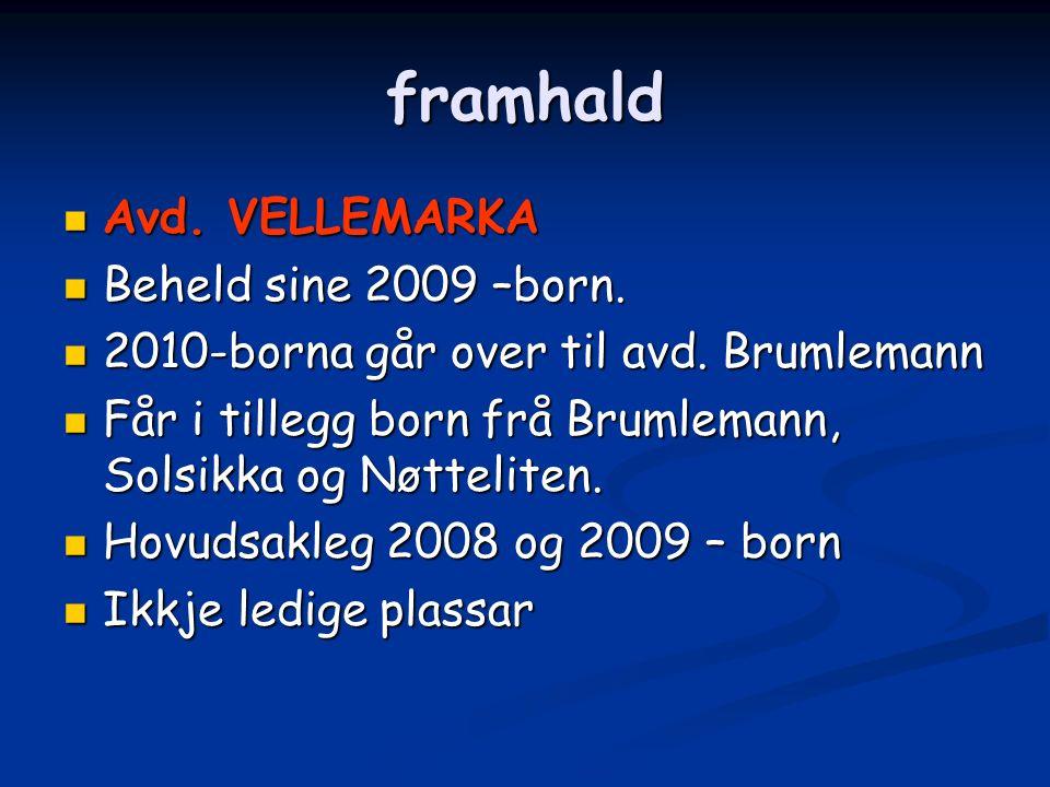 framhald Avd. VELLEMARKA Avd. VELLEMARKA Beheld sine 2009 –born.