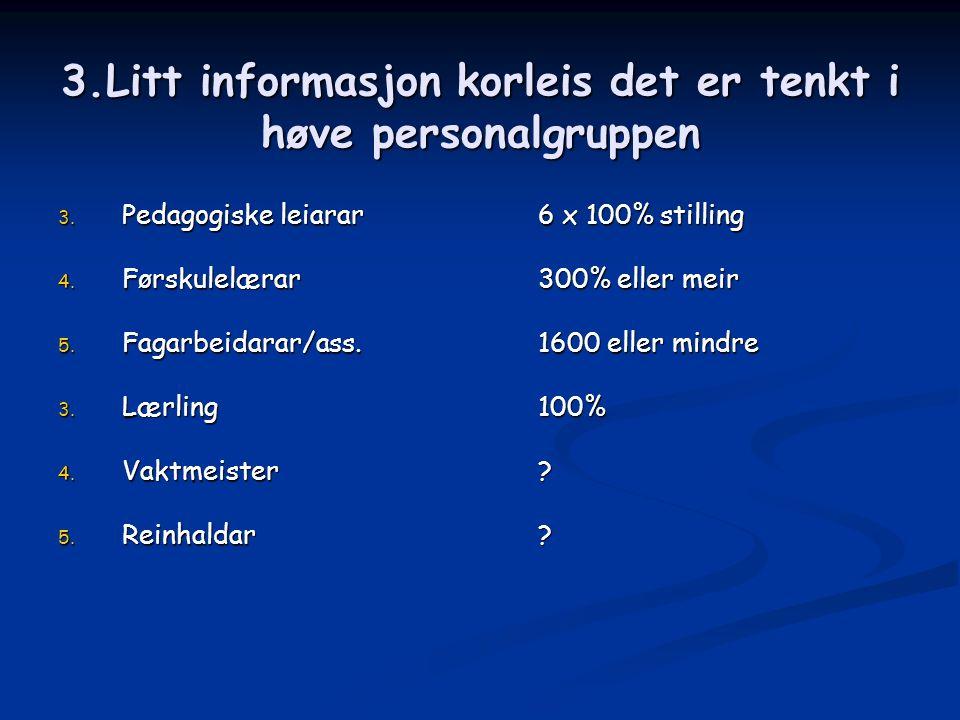 3.Litt informasjon korleis det er tenkt i høve personalgruppen 3.