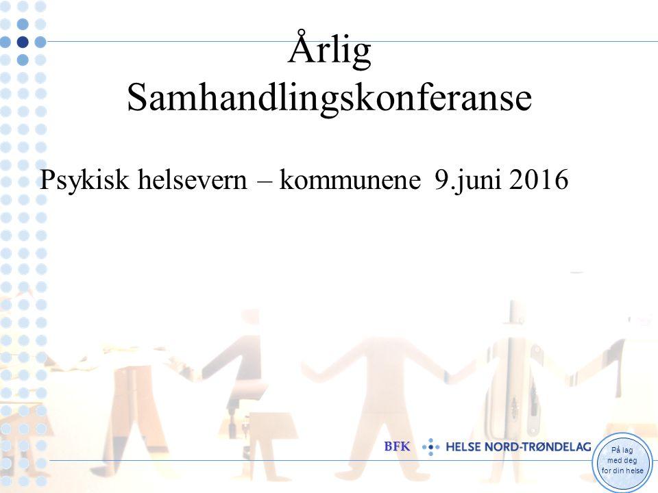 På lag med deg for din helse BFK Årlig Samhandlingskonferanse Psykisk helsevern – kommunene 9.juni 2016