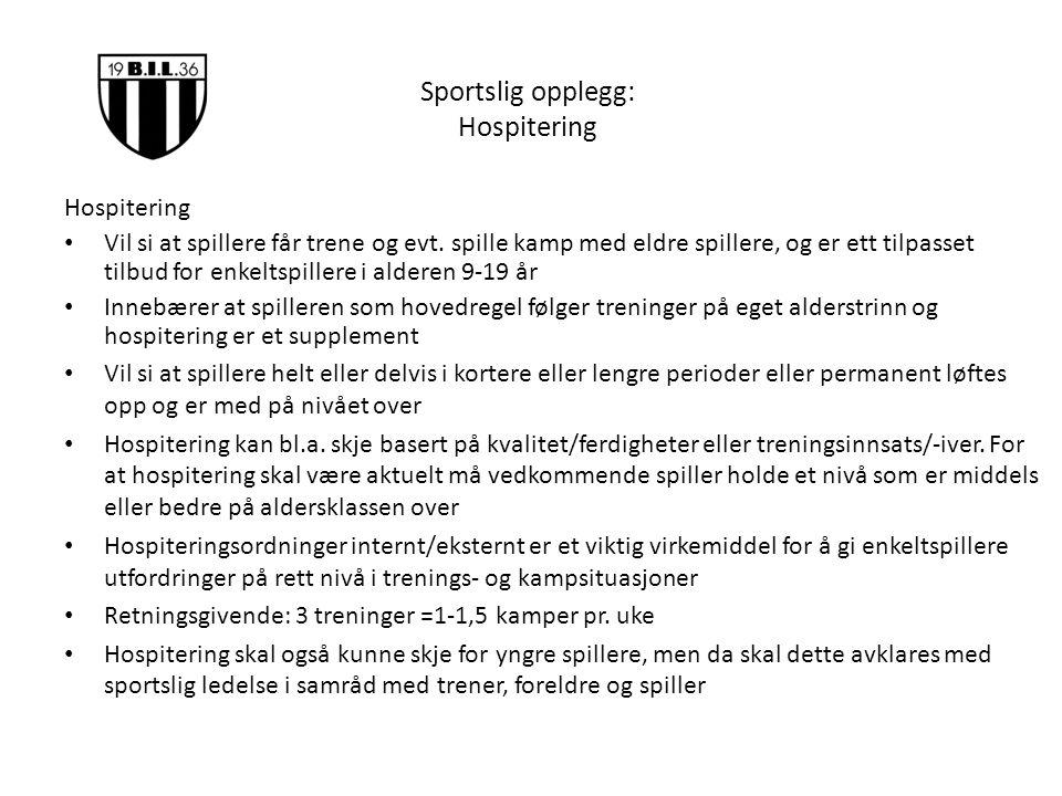 Sportslig opplegg: Hospitering Hospitering Vil si at spillere får trene og evt.