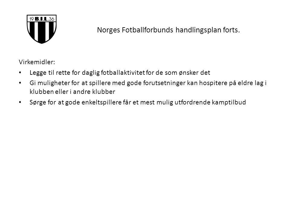 Norges Fotballforbunds handlingsplan forts. Virkemidler: Legge til rette for daglig fotballaktivitet for de som ønsker det Gi muligheter for at spille