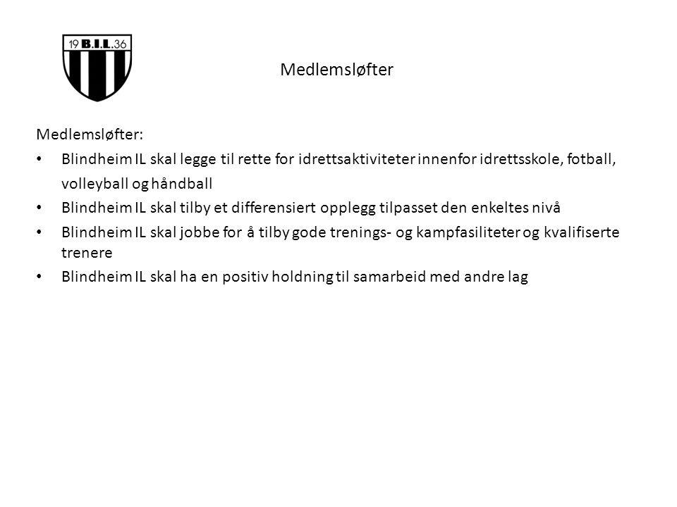 Medlemsløfter Medlemsløfter: Blindheim IL skal legge til rette for idrettsaktiviteter innenfor idrettsskole, fotball, volleyball og håndball Blindheim